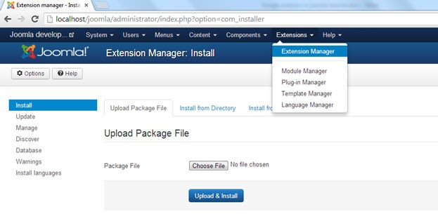 Install Joomla extension