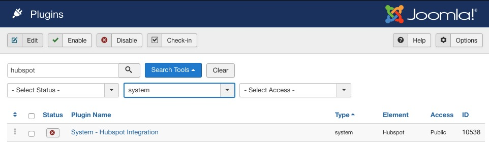HubSpot Joomla plugin options