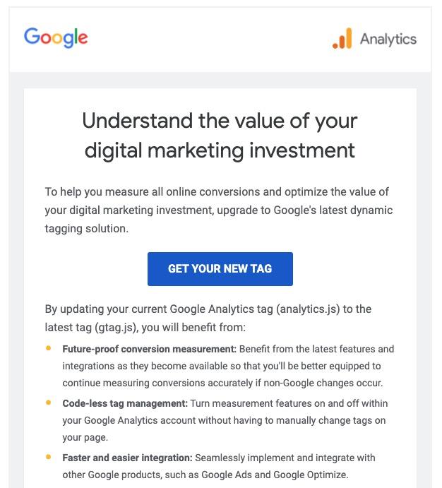 upgrading to new google analytics