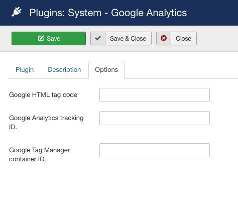 google analytics joomla config options