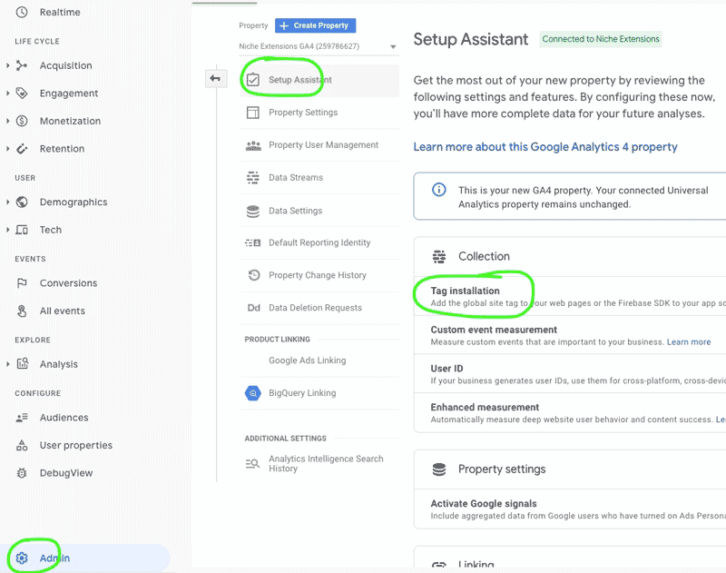 Google Analytics 4 setup assistant and tag installation