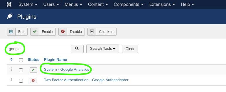 Searching for Google Analytics Plugin