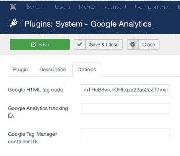 joomla google analytics html tag